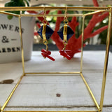 Red Blue Gold  Unique earrings