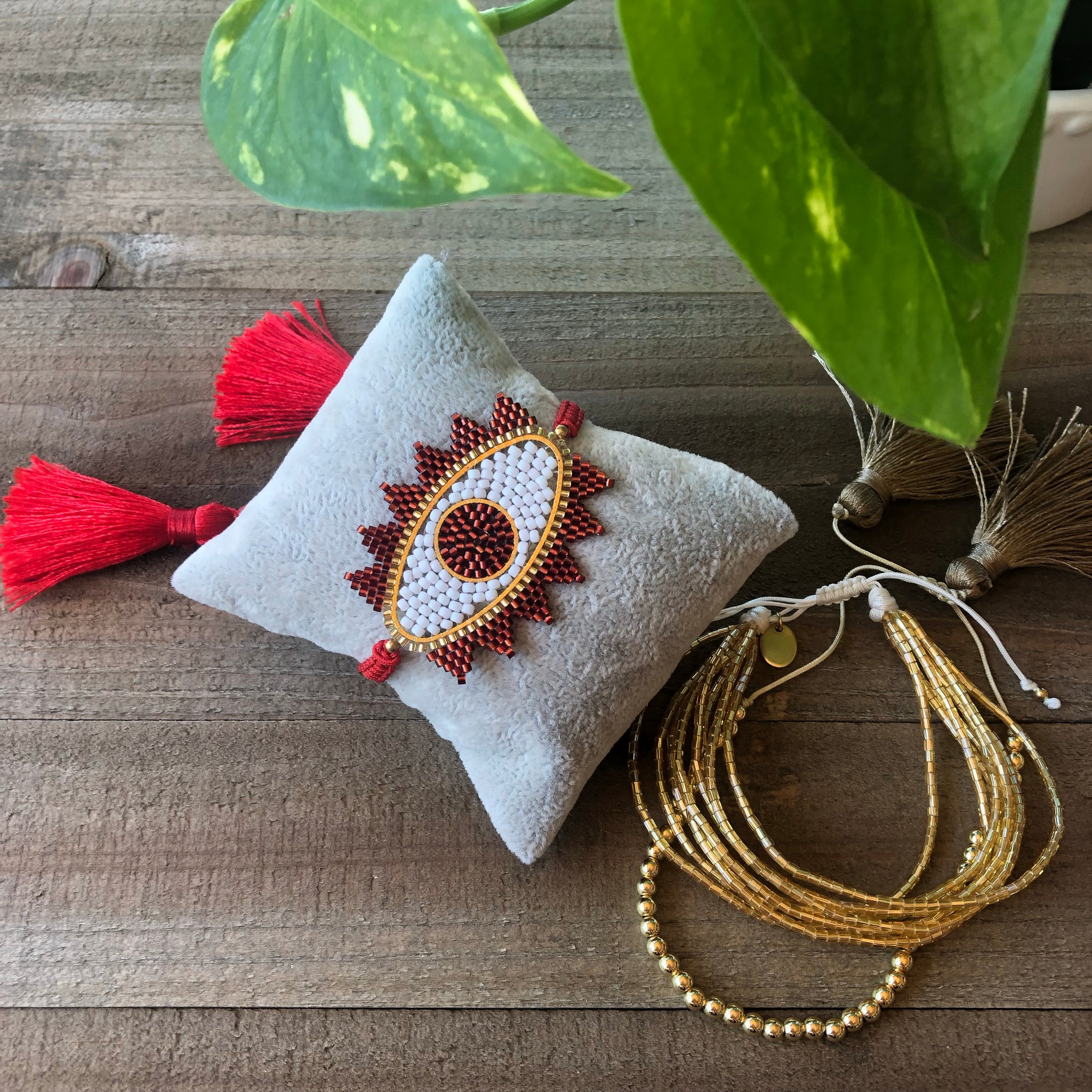 Trio of Red Evil Eye and Gold