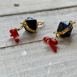 Red Blue Gold custom earrings