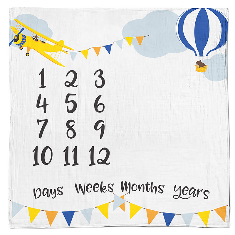 Baby Month Milestone Age Blanket | Muslin Bamboo & Cotton Photo Prop | Boy & Girl | Fox Bear Woodland | RubyRoo Baby - Baby Memory and Milestone Journals, Blankets and Stickers