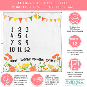 Baby Month Milestone Age Blanket | Muslin Bamboo & Cotton Photo Prop | Boy & Girl | Pink Floral | RubyRoo Baby - Baby Memory and Milestone Journals, Blankets and Stickers