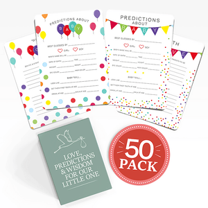 Baby Shower Advice + Prediction Cards & Games | 50 Pack | Dots | RubyRoo Baby - Baby Memory and Milestone Journals, Blankets and Stickers