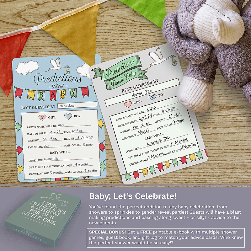 Baby Shower Advice + Prediction Cards & Games | 50 Pack | Stork | RubyRoo Baby - Baby Memory and Milestone Journals, Blankets and Stickers