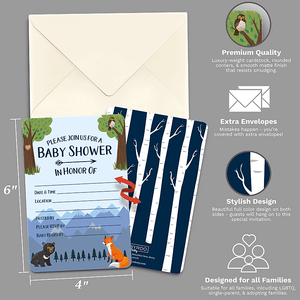 Baby Shower & Sprinkle Invitations | 30 Invite Cards & Envelopes | Fox Bear Woodland | RubyRoo Baby - Baby Memory and Milestone Journals, Blankets and Stickers