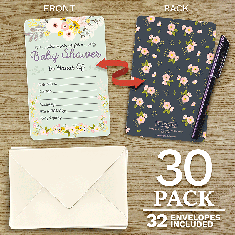 Baby Shower & Sprinkle Invitations | 30 Invite Cards & Envelopes | Pink Floral | RubyRoo Baby - Baby Memory and Milestone Journals, Blankets and Stickers