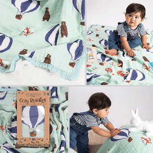 Baby & Toddler Blanket | Muslin Bamboo Cotton | Dream Preschool Nap Security Blanket | Fox Bear Woodland | RubyRoo Baby - Baby Memory and Milestone Journals, Blankets and Stickers
