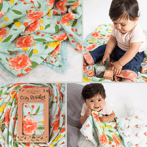 Baby & Toddler Blanket | Muslin Bamboo Cotton | Dream Preschool Nap Security Blanket | Pink Floral | RubyRoo Baby - Baby Memory and Milestone Journals, Blankets and Stickers