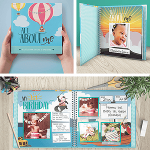 First Year Baby Memory Journal Book & Monthly Milestone Stickers | Photo Milestone Scrapbook | Adventure | RubyRoo Baby - Baby Memory and Milestone Journals, Blankets and Stickers