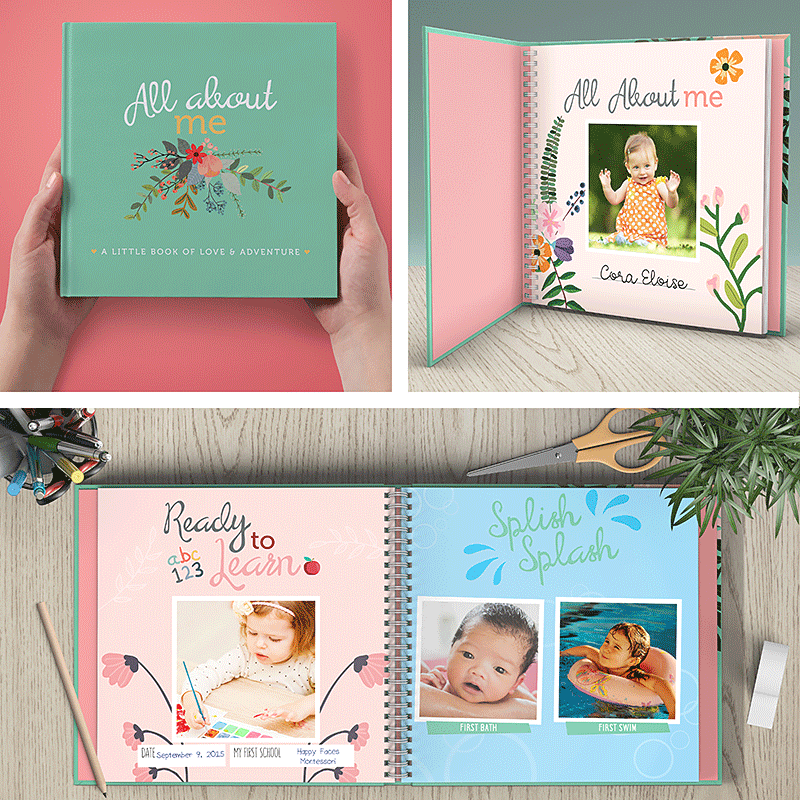 First Year Baby Memory Journal Book & Monthly Milestone Stickers | Photo Milestone Scrapbook | Pink Floral | RubyRoo Baby - Baby Memory and Milestone Journals, Blankets and Stickers