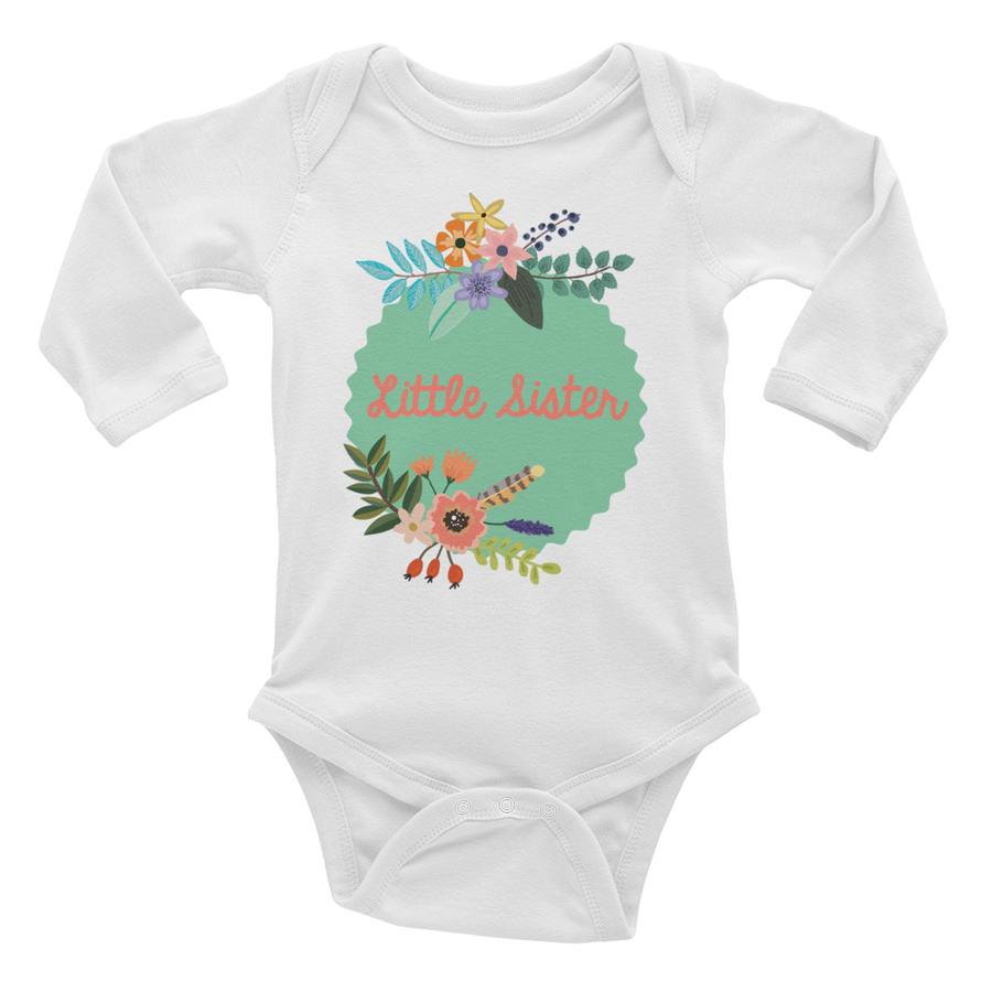LITTLE SISTER ONESIE | LONG SLEEVE | BOHO FLORAL