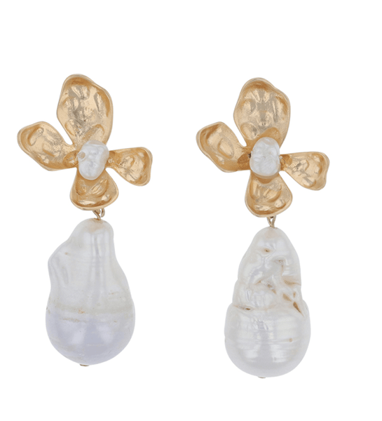 FLOWER ES488G PEARL EARRINGS
