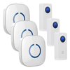 FULL HOUSE WIRELESS DOORBELL SET - 3 RECEIVERS + 3 BUTTONS - Revopure