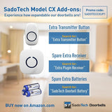 Doorbell - SadoTech Model CX Wireless Doorbell with 1 Receiver Plugin and 2 Remote Buttons Operating at over 500-feet Range with Over 50 Chimes - SadoTech