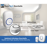 Doorbell - SadoTech Model C Wireless Doorbell Operating at over 500-feet Range with Over 50 Chimes, No Batteries Required for Receiver - SadoTech