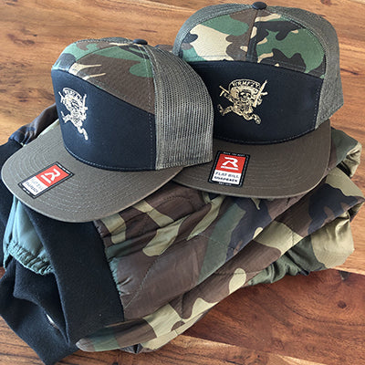 """Sicario"" 7-Panel Trucker (Woodland)"