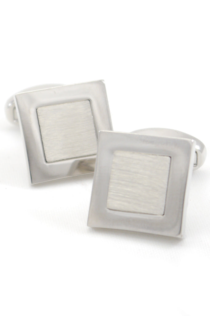 Silver Brushed Square Cufflinks