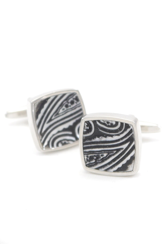 Silver Abstract Woodgrain Cufflinks