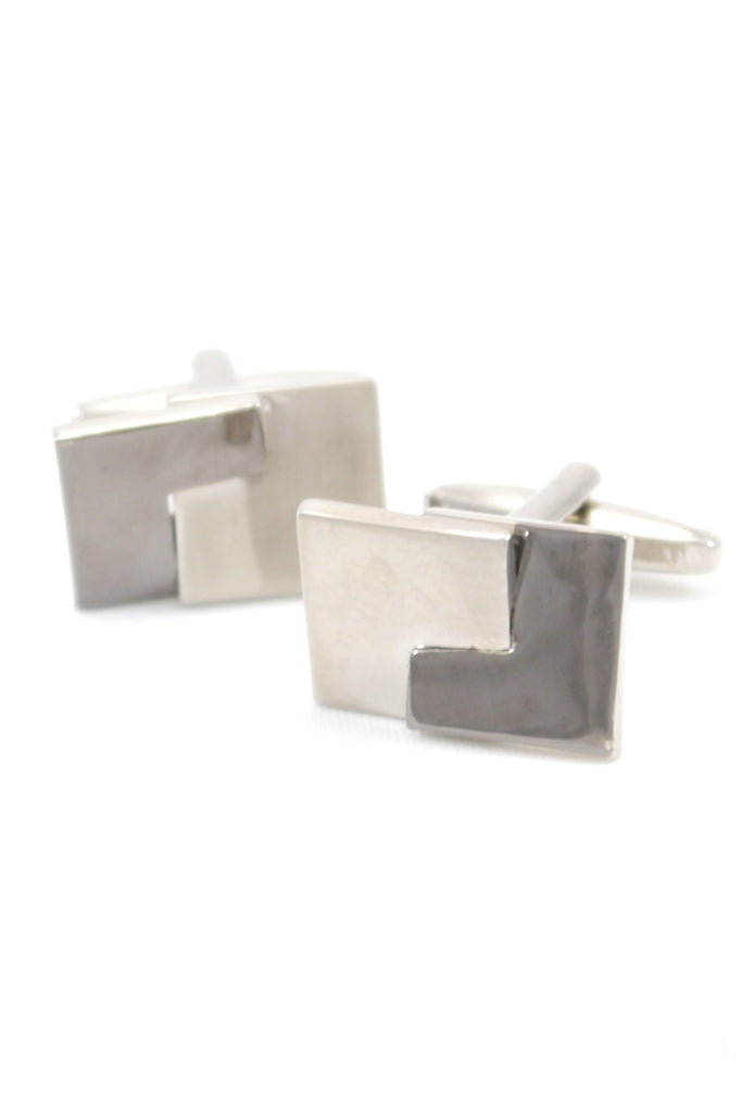 Silver Two-Tone Geometric Cufflinks