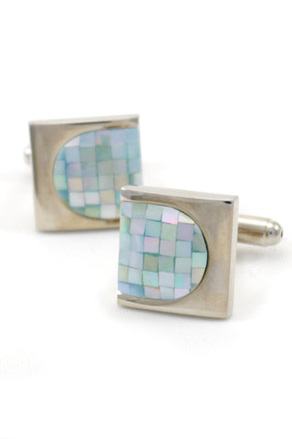 Silver and Aqua Geometric Cufflinks