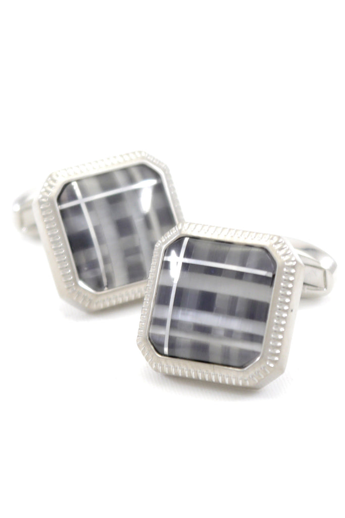 Black, Grey, and Silver Stone Cufflinks