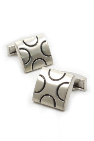Silver and Black Geometric Cufflinks