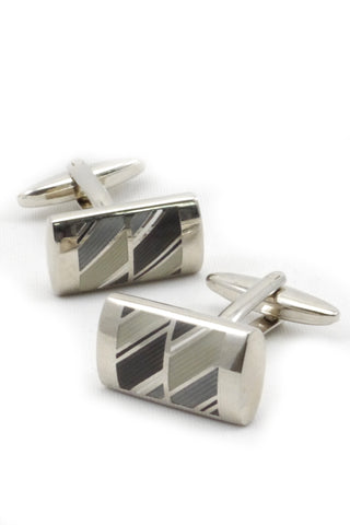 Silver, Grey, Beige, and Brown Geometric Cufflinks