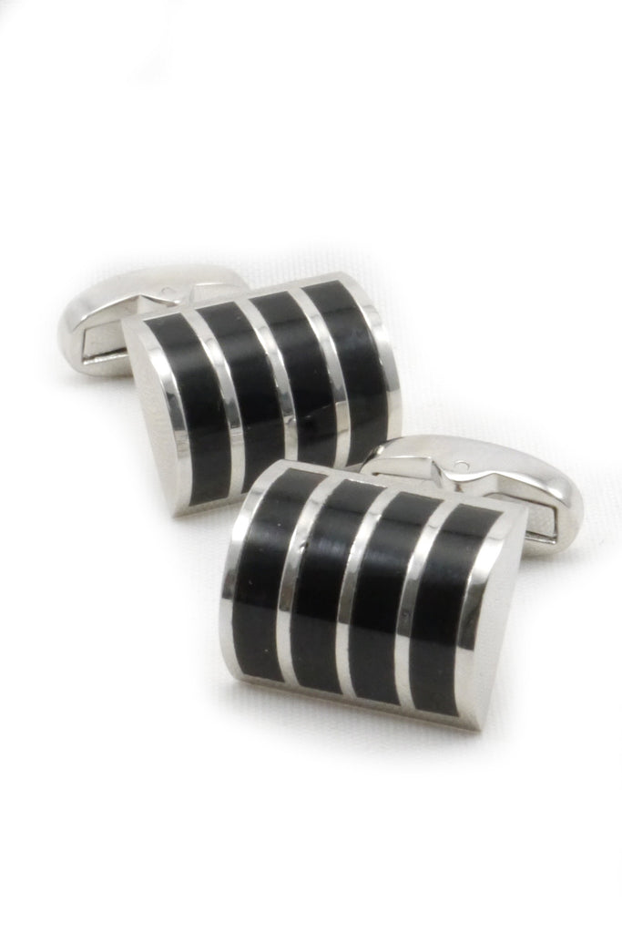 Silver and Black Rounded Cufflinks