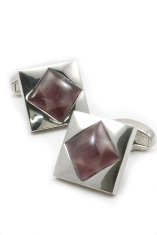 Silver and Rose Pink Geometric Cufflinks