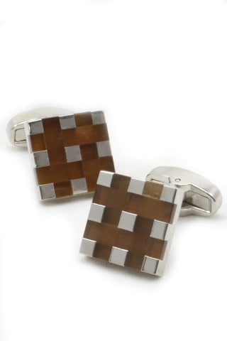 Silver and Brown Geometric Cufflinks