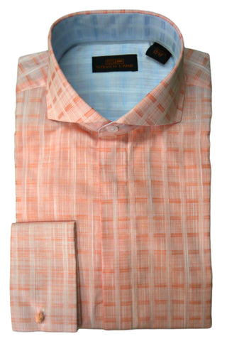 Peach Tonal Plaid Cutaway Collar Dress Shirt