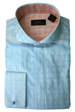 Blue Tonal Plaid Cutaway Collar Dress Shirt