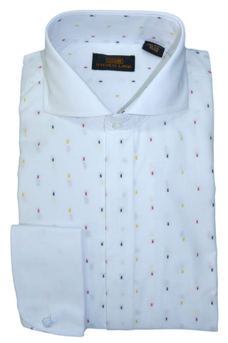 White, Black, Red, and Yellow Confetti Cutaway Collar Dress Shirt