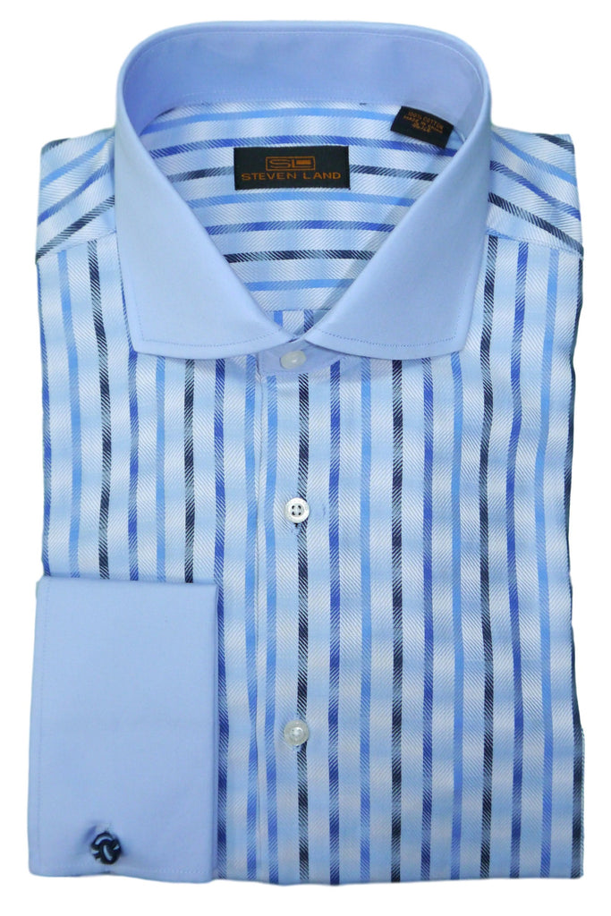 Blue and Navy Vertical Striped Cutaway Collar Dress Shirt