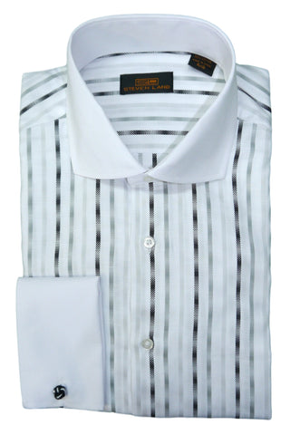 Black and White Vertical Striped Cutaway Collar Dress Shirt