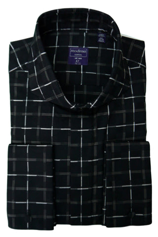 Dark Navy Windowpane Cutaway Collar Shirt