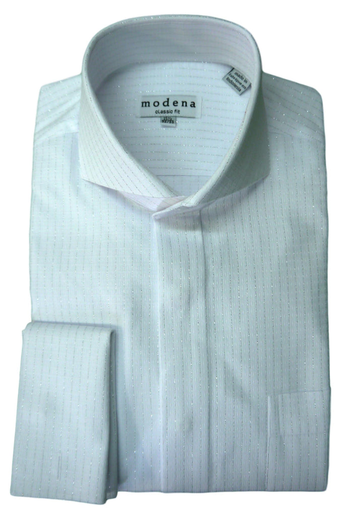 White Metallic Stripe Cutaway Collar Dress Shirt