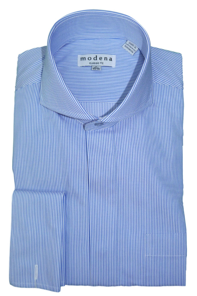Blue Vertical Striped Cutaway Collar Dress Shirt