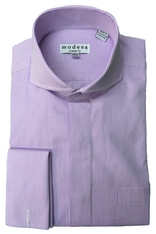 Lavender Vertical Striped Cutaway Collar Dress Shirt