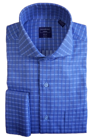 Blue Checked Cutaway Collar Dress Shirt