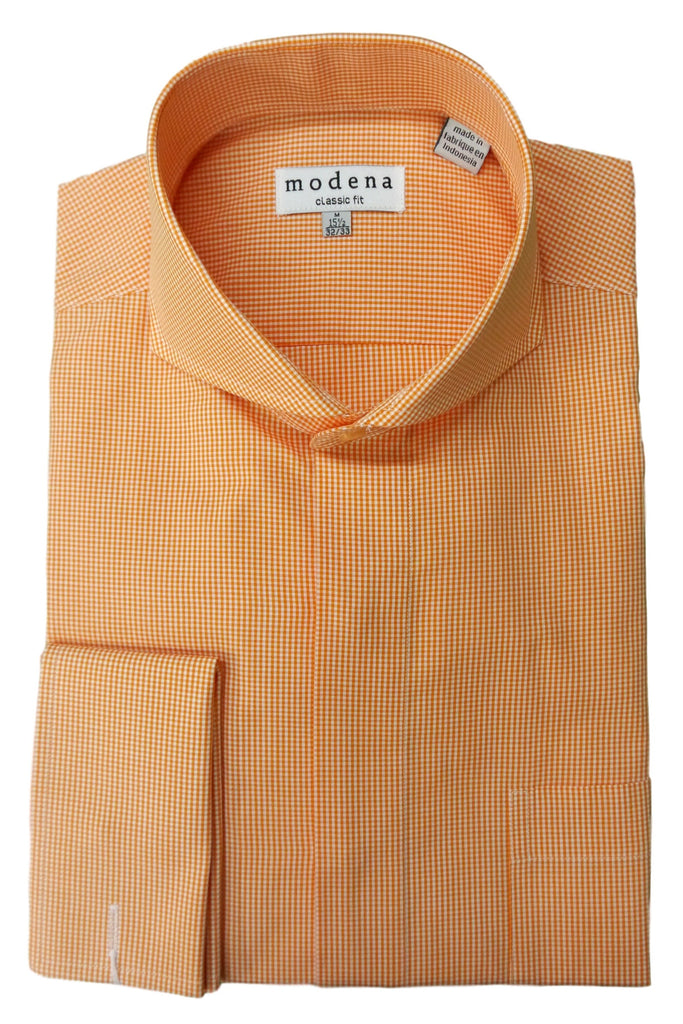 Melon Mini Gingham Check Cutaway Collar Dress Shirt