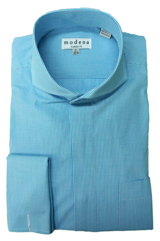 Turquoise Mini Gingham Check Cutaway Collar Dress Shirt