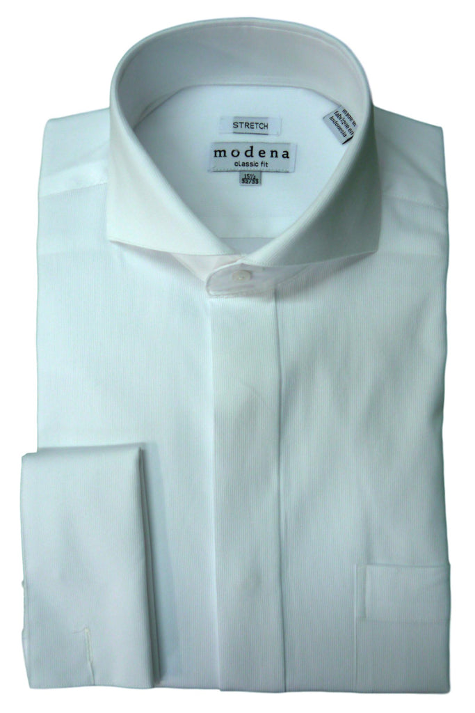 Grey Pincord Cutaway Collar Dress Shirt