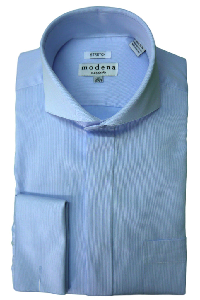 Powder Blue Pincord Cutaway Collar Dress Shirt