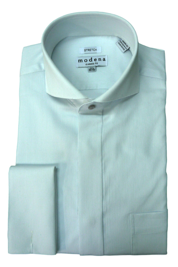 White Pincord Cutaway Collar Dress Shirt