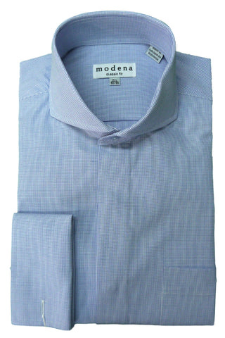 Blue Mini Check Cutaway Collar Dress Shirt