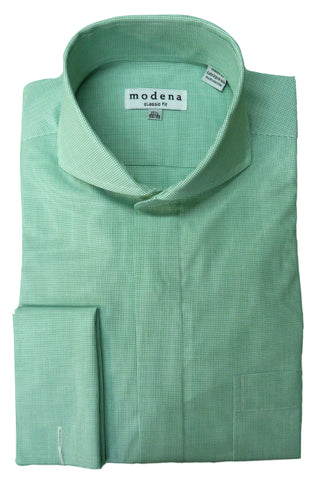 Lime Green Mini Check Cutaway Collar Dress Shirt