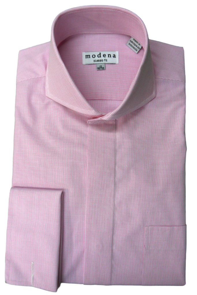 Pink Mini Check Cutaway Collar Shirt