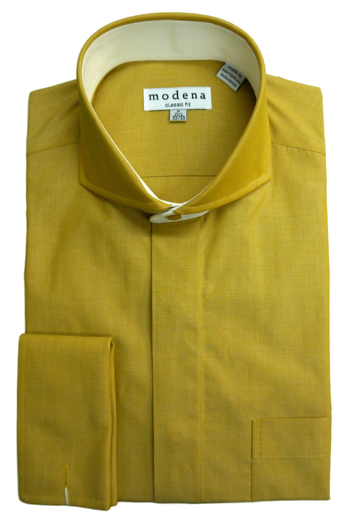 Gold Solid Cutaway Collar Dress Shirt