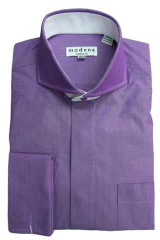 Purple Solid Cutaway Collar Dress Shirt