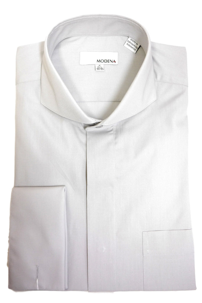 Grey Cutaway Collar Dress Shirt